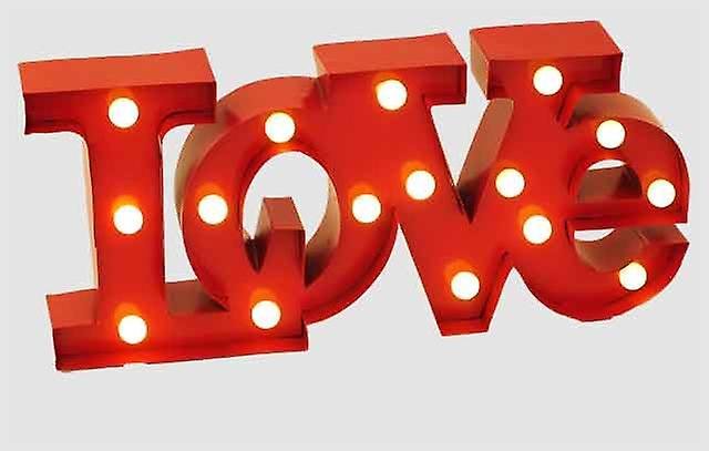 Wall Hanging Light Up LOVE Sign Red With White Light Display Decoration Signboard