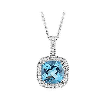 Blue Topaz Pendant Necklace with Diamond Accent 1 3/4 Carat (ctw) in Sterling Silver with Chain