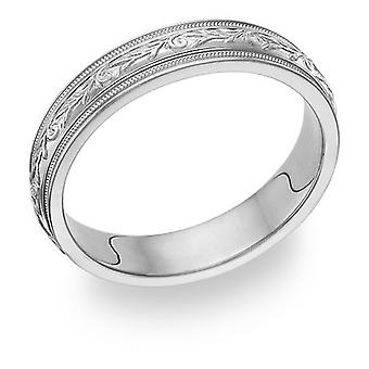 Carved Sterling Silver Paisley Wedding Band Ring