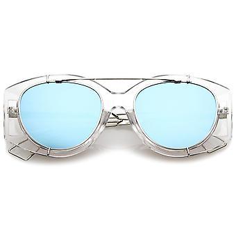 Futuristische doorschijnend draad metalen wapens dwarsbalk gespiegeld vlakke Lens oversized zonnebril 53mm