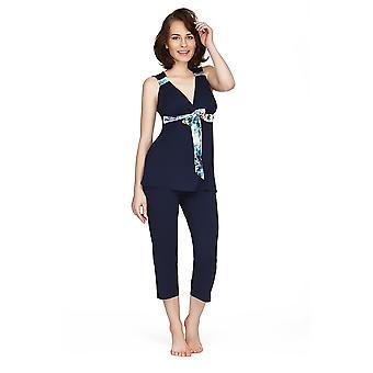 Mio Lounge Santiago Micro modális kék nyomtatás pizsama készlet 132C491B