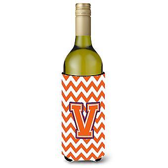 Letter V Chevron Orange and Regalia Wine Bottle Beverage Insulator Hugger