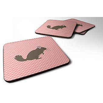 Set of 4 Chinchilla Pink Check Foam Coasters Set of 4