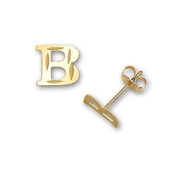 14k sárga arany levél neve személyre szabott monogram kezdeti B bélyegzés fiúk vagy lányok fülbevaló intézkedések 6x6mm