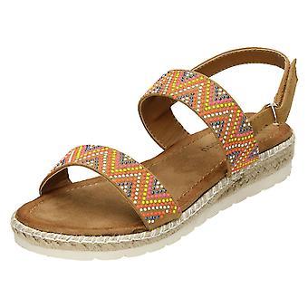 Ladies Savannah Coloured Studded Sandals - Tan Textile - UK Size 6 - EU Size 39 - US Size 8