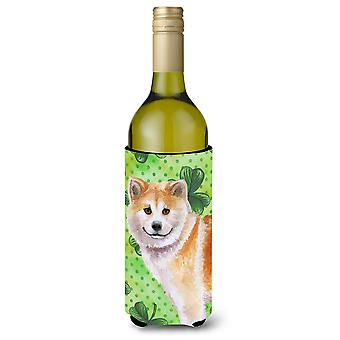 Shiba Inu St Patrick's Wine Bottle Beverge Insulator Hugger