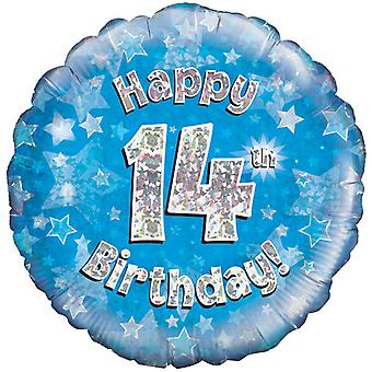 Oaktree 18 Inch Happy 14th Birthday Blue Holographic Balloon