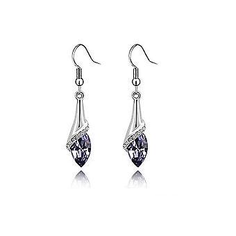 Womens Girls Light Violet Stone Fold Drop Earrings Crystal Stone BGCW42