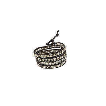 Bracelet Multi Rangs Wrap Métal Or et Cuir 2547
