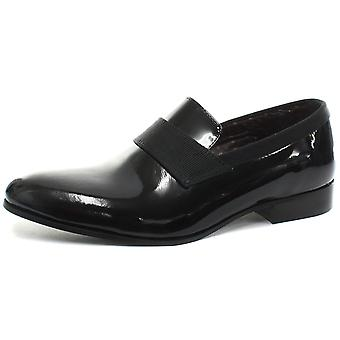London Brogues Camden Black Patent Mens Slip On Dress Shoes