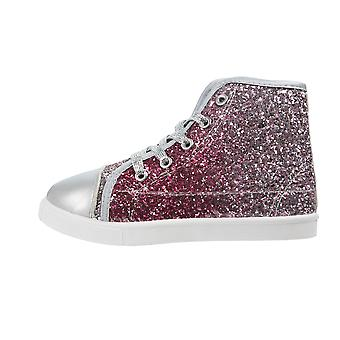 Girls Buckle My Shoe Glitter Pink Hi Top Fashion Trainer Shoe Various Sizes