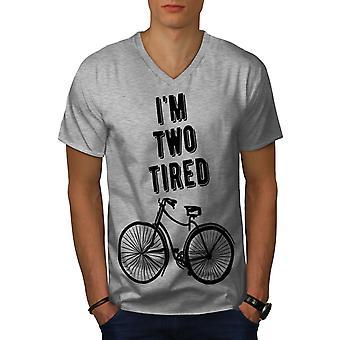 Two Tired Pun Joke Funy Men GreyV-Neck T-shirt | Wellcoda