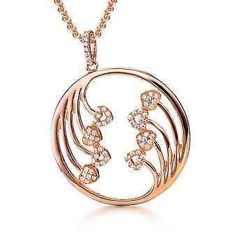 Orphelia sølv 925 vedhæng med kæde cirkel og hjerter Rosegold forgyldt Zirconium ZH-7238