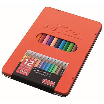 Royal Talens Bruynzeel MXz Soft Feel Coloured Pencils Tin Of 12^^^
