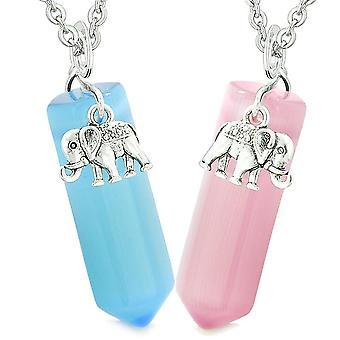 Heldig elefant kjærlighet par beste venner Crystal poeng Sky Blue Pink simulert Cats Eye halskjeder