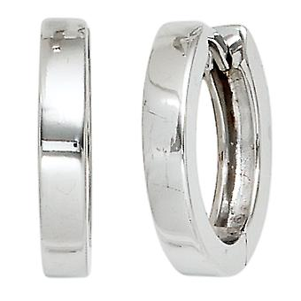 Rhodium-plated hoop earrings shiny 925 Sterling Silver earrings