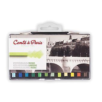 Conte a Paris Artists Colour Crayons 12 Landscape Colours