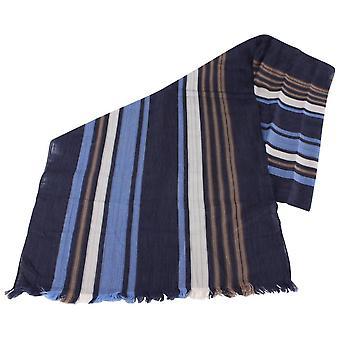 Bassin e Livingstone marrone grande striscia sciarpa di cotone - Navy/blu/Beige