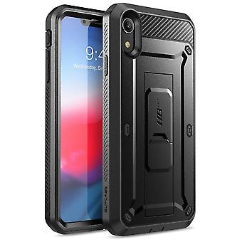 iPhone XR Case, Full-Body Rugged Holster Case with Built-in Screen Protector, Unicorn Beetle Pro Series - (Black)