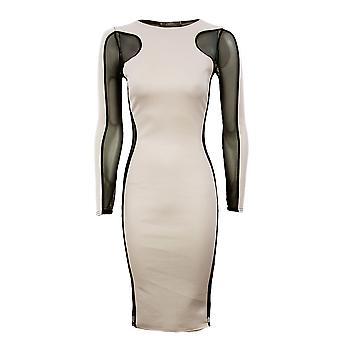 Ladies Plain Contrast Mesh Insert Dress Plain Slimming Effect Womens Dress