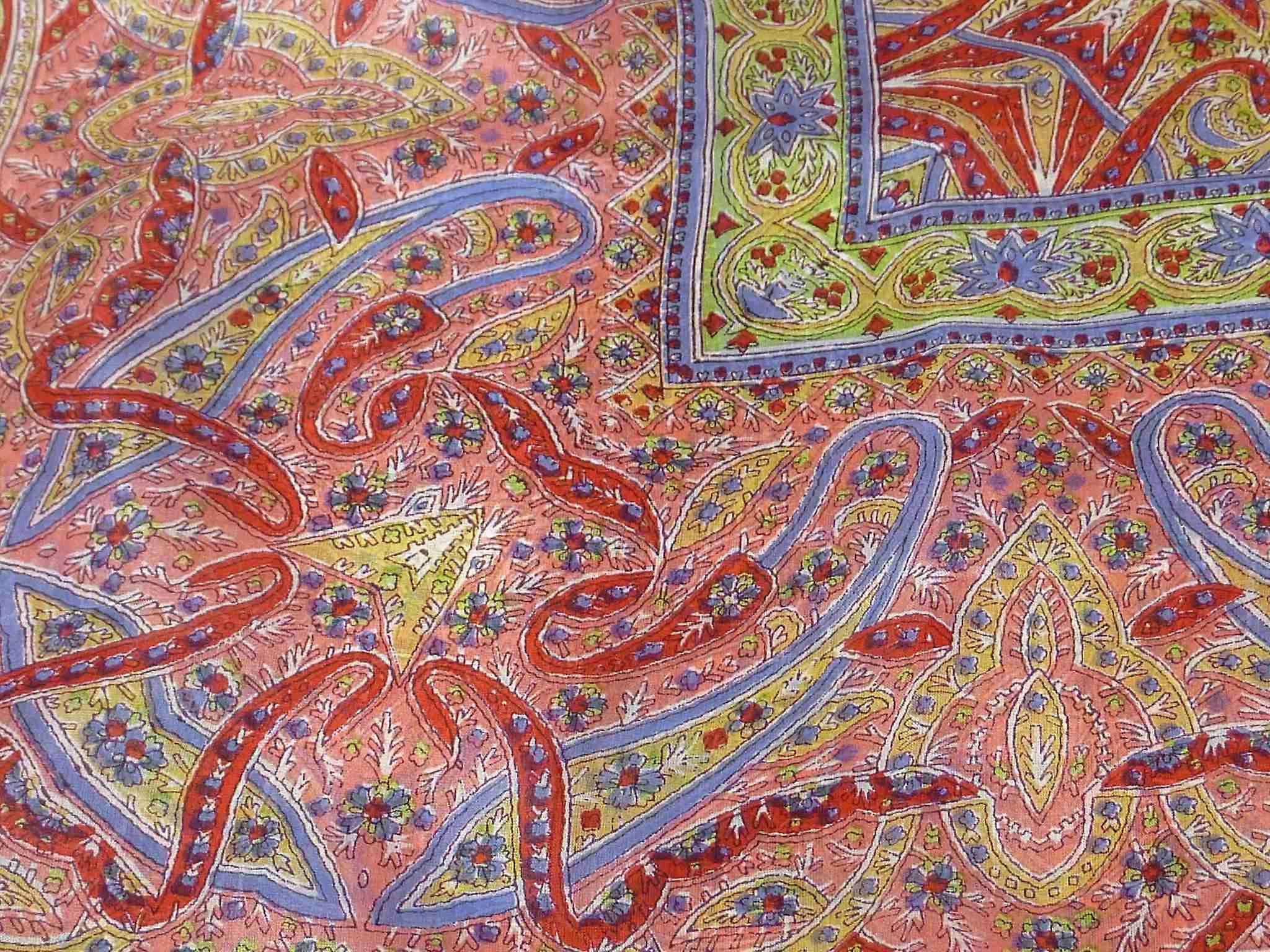 Mulberry Silk Traditional Square Scarf Yamuna Red by Pashmina & Silk