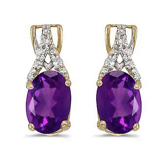 LXR 14k Gelbgold Oval Amethyst und Diamant Ohrringe 0.9 ct