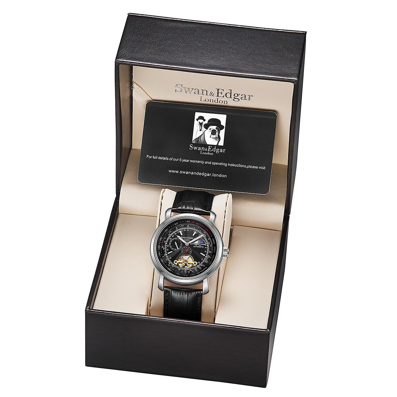 Swan & Edgar Automatic Moonface Steel & Black Mens Watch