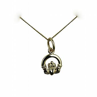 9ct Gold 8x6mm Claddagh Pendant with a curb Chain 20 inches