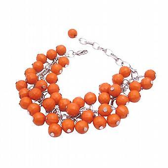 Poco costoso Cluster arancione perline braccialetto personalizzare qualsiasi colore