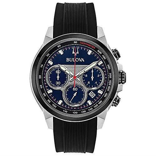 Bulova Sports Dress Blue Dial Chronograph Mens Watch 98B314 45mm