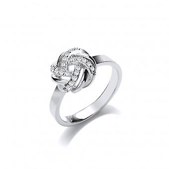 Cavendish French Silver and CZ Plaited Knot Ring
