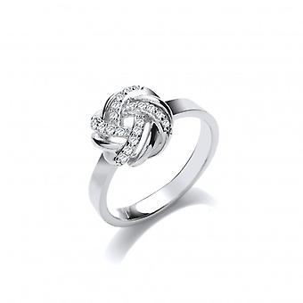 Cavendish französische Silber und CZ geflochtenen Knoten Ring