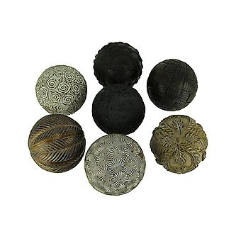 Gold Brown and White Assorted Textures 3 Inch Decor Ball Figurines Set of 7