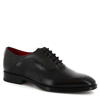 ليوناردو أحذية الرجال & ق يدمربع قدم نصف الأحذية brogue في جلد العجل الأسود