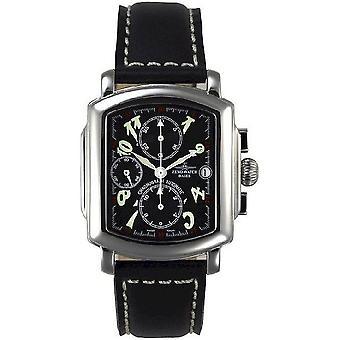 Zeno-watch mens watch square OS chronograph date pilot 8100TVD-a1