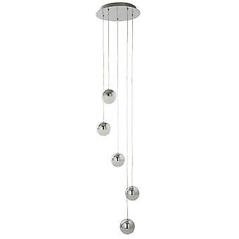 Zoeklicht knikkers 5 LED Globe hanger Chrome en gemalen ijs glas
