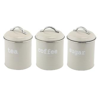 Apollo Set of 3 Round Canisters, Grey and Chrome