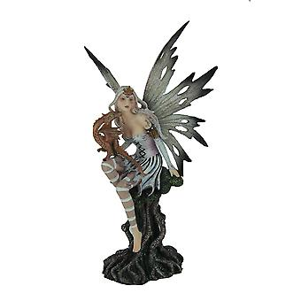 Black and White Forest Fairy Sitting with Baby Red Dragon Statue