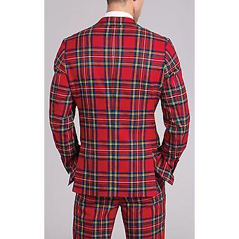 Dobell Mens Red Tartan Suit Jacket Slim Fit Notch lapel