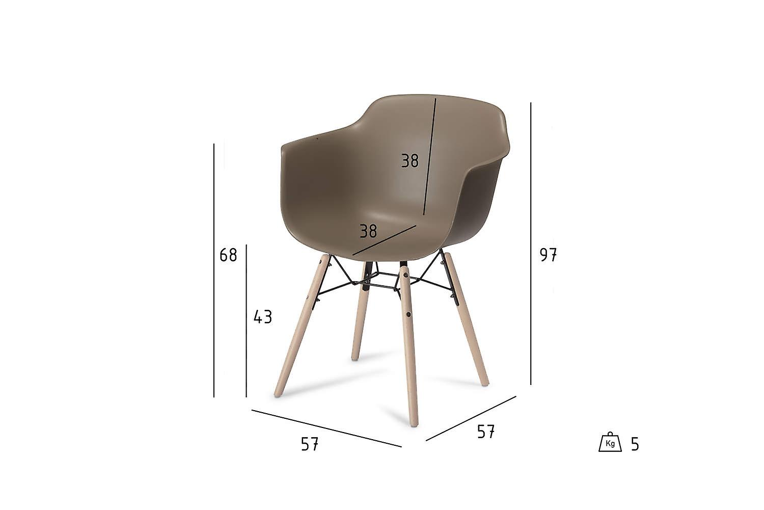 Furnhouse Jupiter Dining Chair, Grey, Natural Legs, 57x57x97 cm, Set of 2