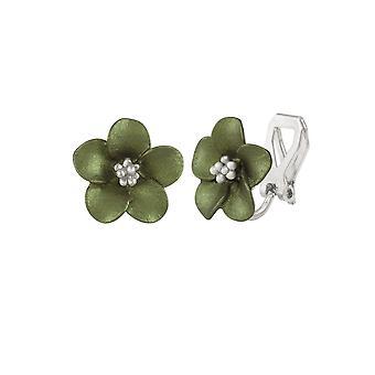 Eternal Collection Anemone Green Enamel Silver Tone Stud Clip On Earrings