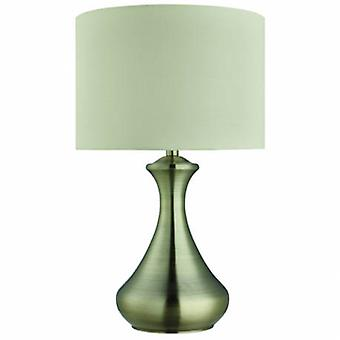 1 Light Table Touch Lamp Antique Brass With Cream Shade