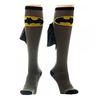 Knie hoch glänzend Cape Socken - DC Comics - Batman - Logo grau/schwarz kh101vbtm