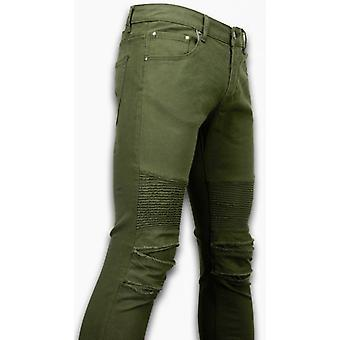 Ripped Jeans - Slim Fit Biker Jeans - Lined Knee Pads - Green