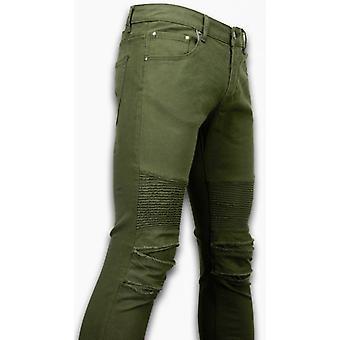 Ripped Jeans - Slim Fit Biker Jeans - Lined Knee Pads - Groen