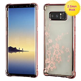 MYBAT Rose Gold Glassy Spring Flowers Klarity Electroplated Premium Candy Skin Cover  for Galaxy Note 8