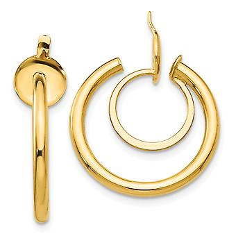 14k Yellow Gold Hollow Polished Non pierced Hoop Earrings Measures 18x2mm Wide Jewelry Gifts for Women