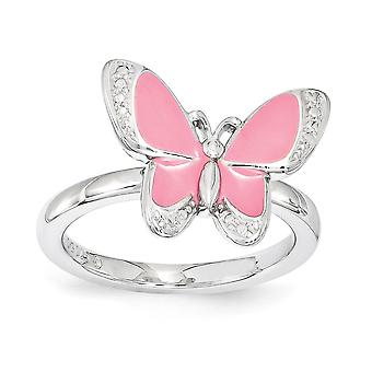 2.25mm 925 Sterling Silver Polished Stackable Expressions Pink Enamel Butterfly Angel Wings Ring Jewelry Gifts for Women