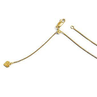 1mm 925 sterling silver polerad hummer klo stängning guld-blixtrade justerbar Box kedja halsband-22 tum