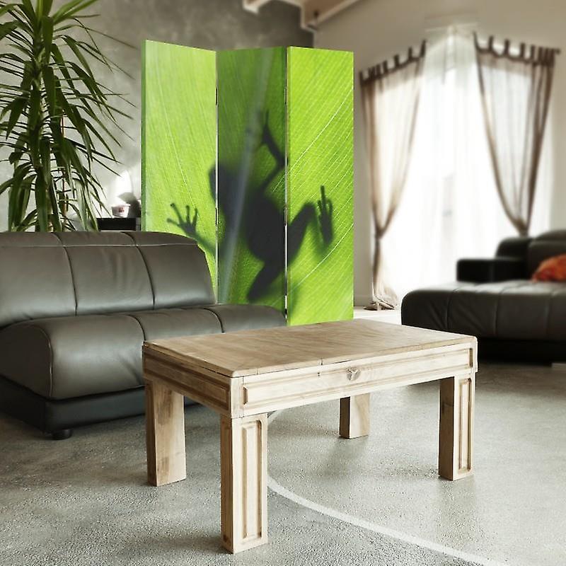 Diviseur de chambre, 3 panneaux, à un seul côté, toile, grenouille verte sur une feuille
